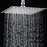 12 pouces Tête de douche pluie carrée de luxe en acier inoxydable poli ultra brillant effet miroir chromé
