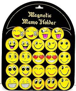 ARTC Emoji Dome Round shape Smile Face Expressions Fridge Magnet 24 piece Metal Board