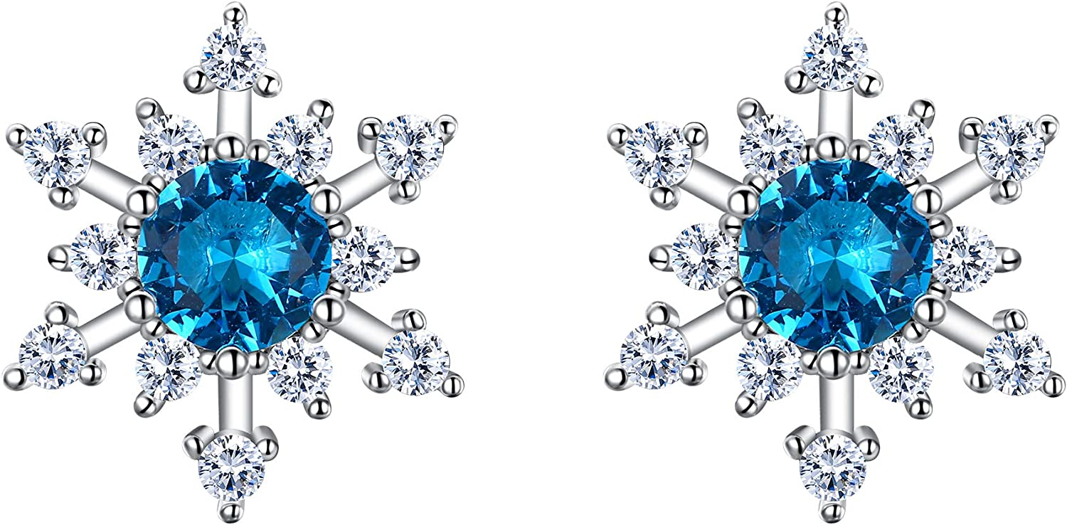 BriLove 925 Sterling Silver Cubic Zirconia Shining Snowflake Stud Earrings for Women