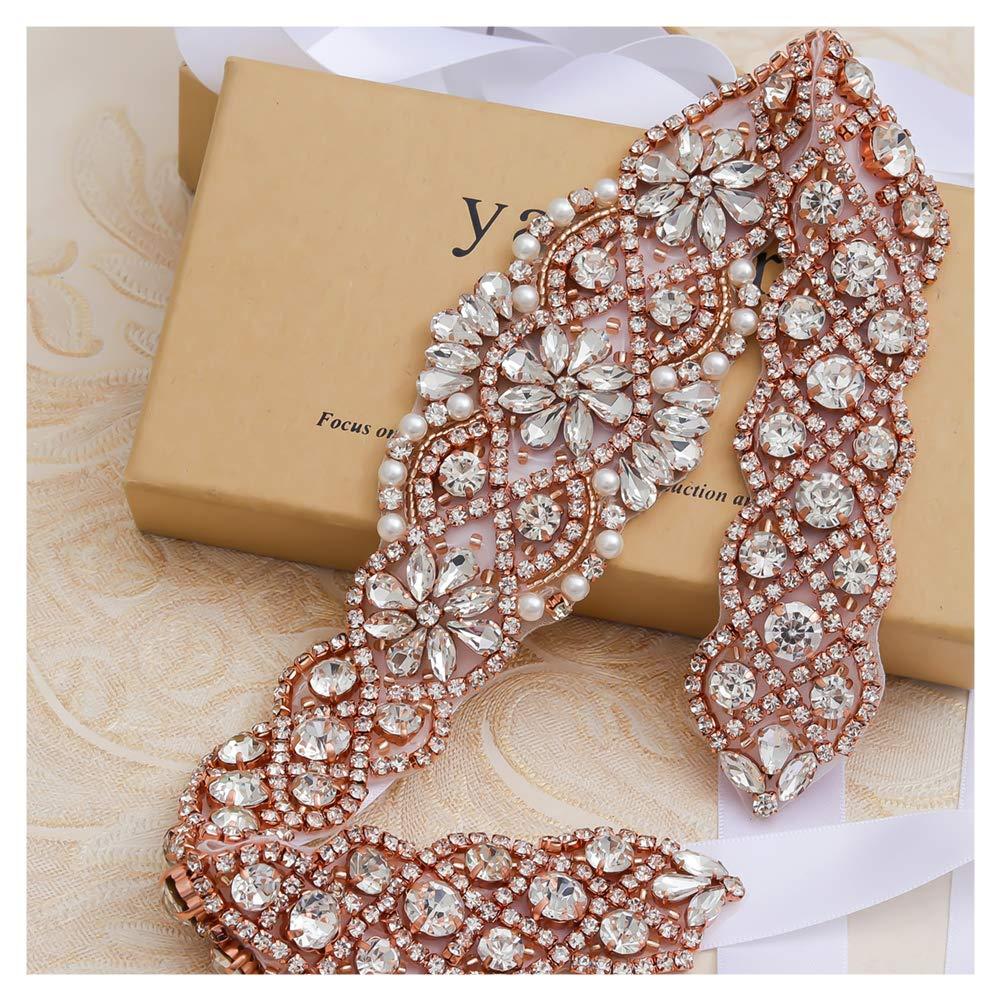 CDM product Rhinestone Bridal Sashes Hand Rose Gold Crystal For Bridal Wedding Belts small thumbnail image