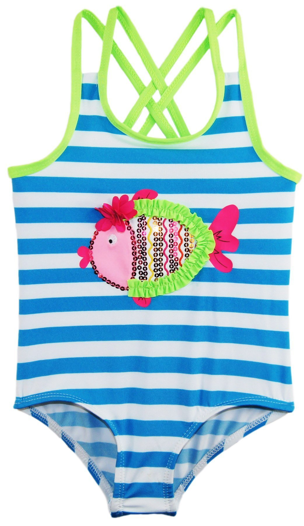 Wippette Baby Stripes with Fish Applique Swimsuit, Atomic Blue, 24 Months