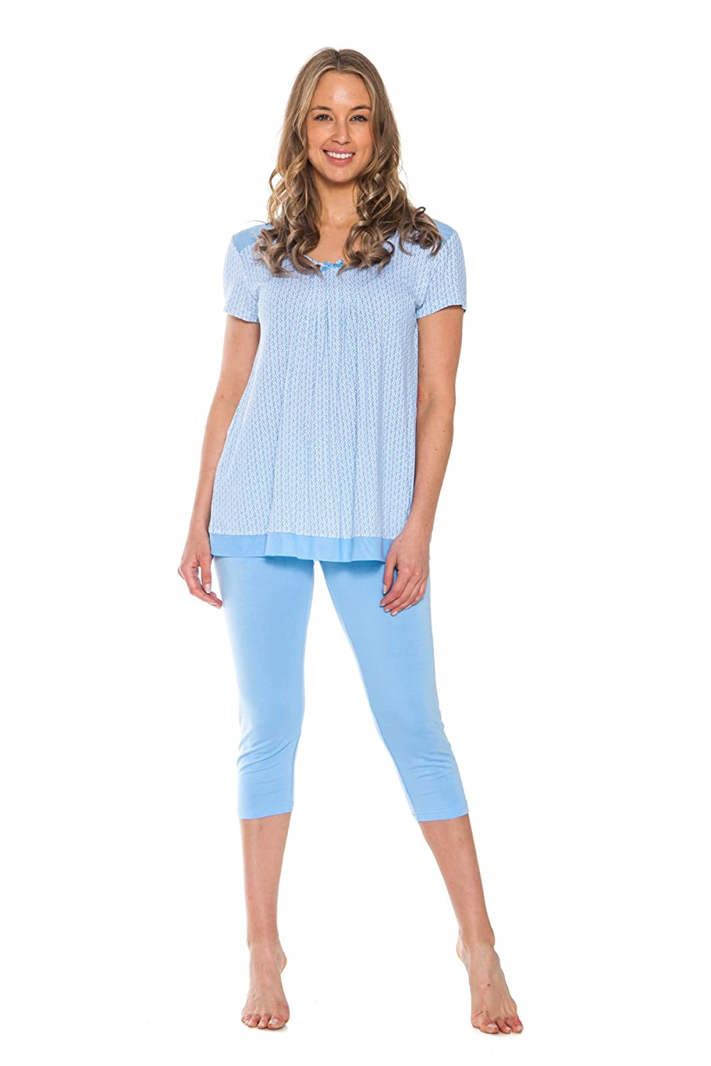 Patricia Women's Pajamas Pj Set 2 Piece Outfit Capri Bottoms Short Sleeve Top
