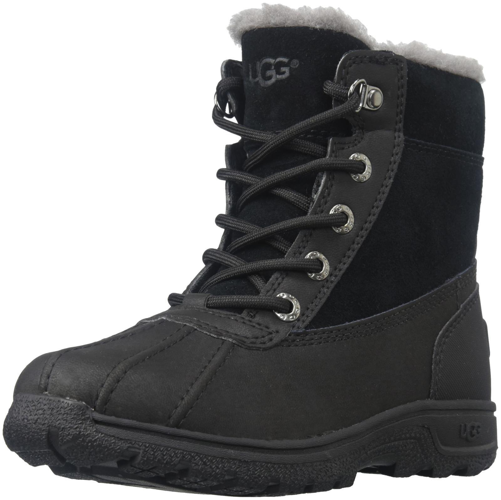 UGG Baby K Leggero Lace-up Boot, Black, 1 M US Little Kid