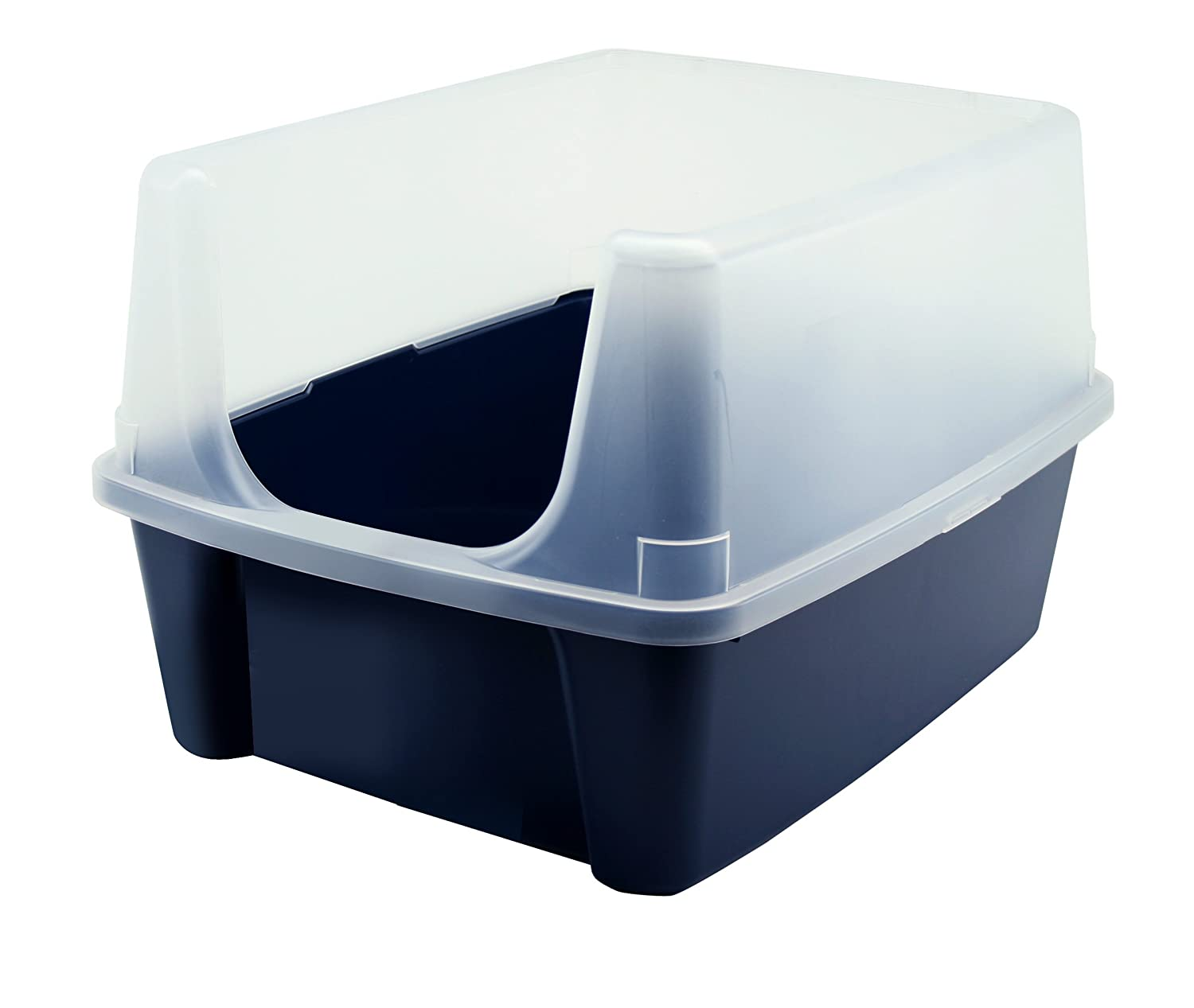 IRIS Open-Top Cat Litter Box with Clear High-Shield without Scoop, Navy