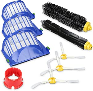 kwmobile Replacement Parts for Roomba - 600 Series 9-Piece Spare Part Accessories Kit with 3 Filters, 3 Side Brushes, Extractor, Brush Cleaning Tool