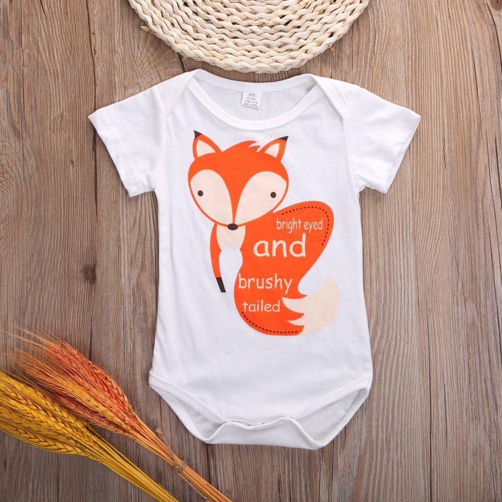 Canis Newborn Baby Boys Girls Short Sleeve Fox Letters Printed Bodysuit