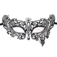 Foxnovo 1 Venetian Style Diamante Metal Filigree Masquerade Mask, Black
