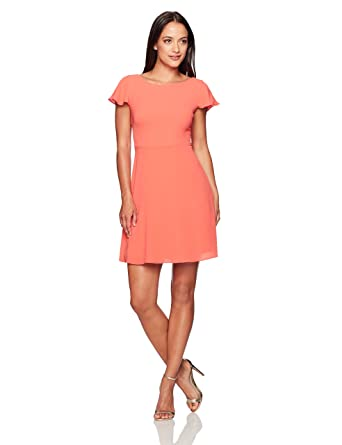 23def341e362 London Times Women's Plus Size Short Sleeve Round Neck Crepe Fit & Flare  Dress, Coral