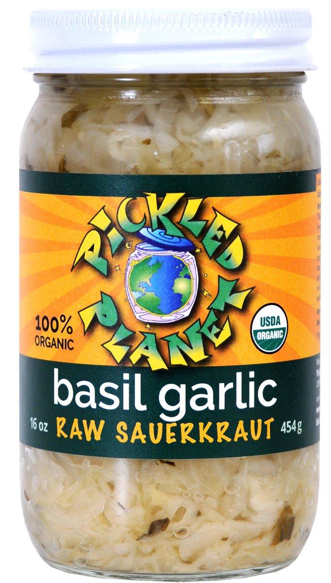 PICKLED PLANET Organic Raw Basil Garlic Sauerkraut, 16 OZ