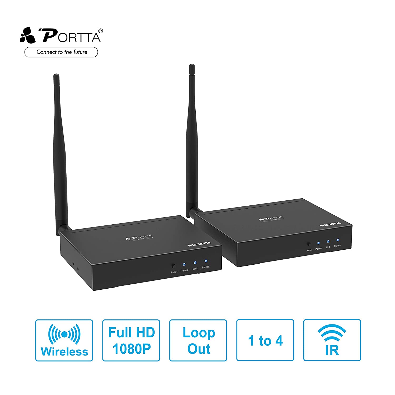 Wireless HDMI Sender and Receiver Portta Wireless HDMI Extender Extension Adapter 100m 328ft Support HD W//IR LOOP OUT 1080P HDCP1.3 Point-to-Point//Multicast transmission up to 4 Receivers