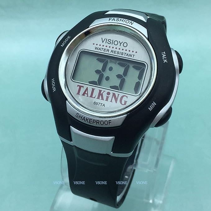 Árabe reloj parlante digitale negro con alarma de precaución hora para ciego y las personas baja visión: Amazon.es: Relojes