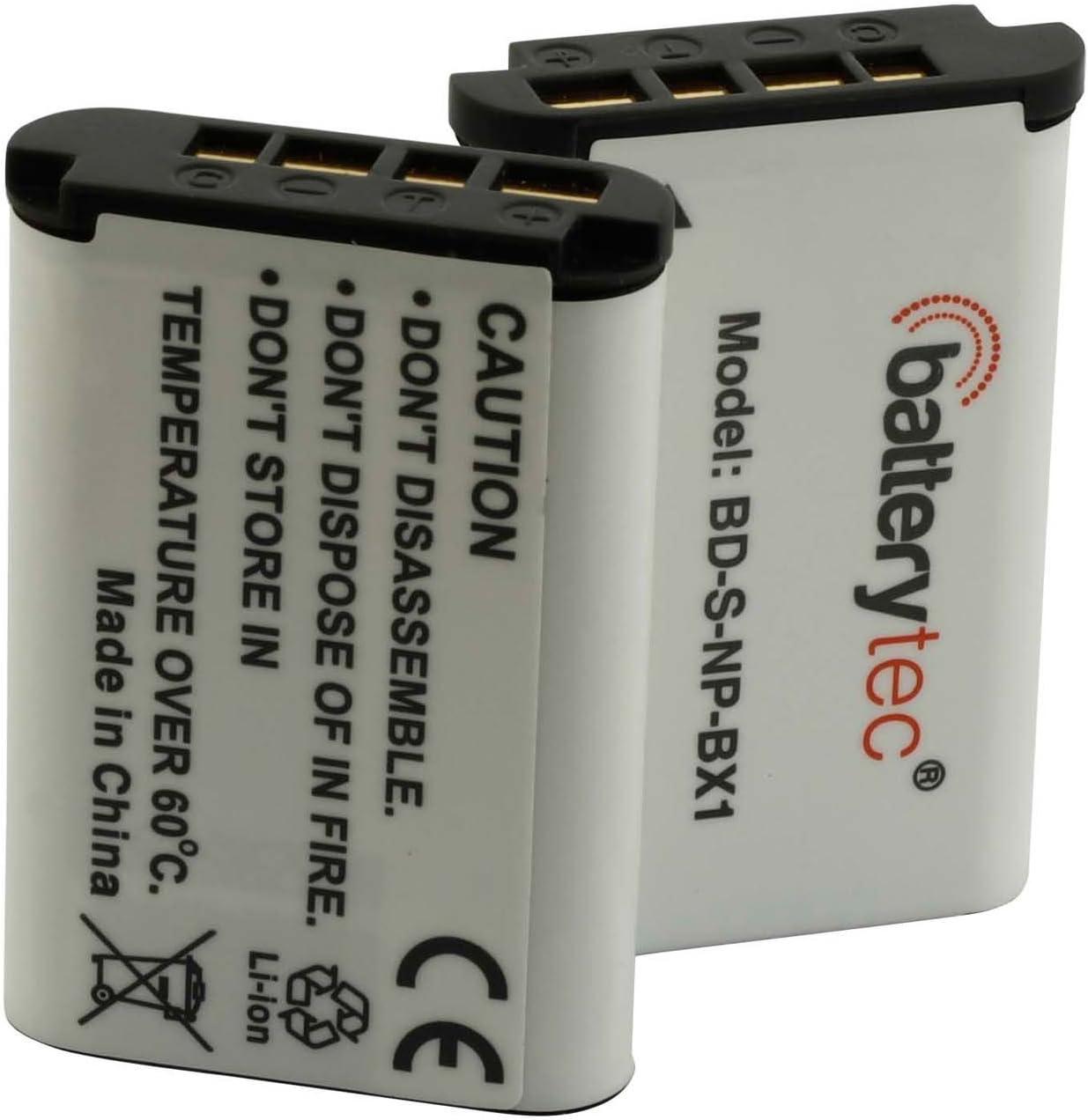 DSC-RX100 V Batterytec/® Bater/ía de Repuesto para Sony Cyber-Shot NP-BX1 DSC-RX100 NP-BX1//M8 DSC-RX100 III HDR-CX405 HDR-AS15 HDR-AS30V 2 Paquetes. 3.7V 1000mAh, Li-Ion, 12 Meses de garant/ía