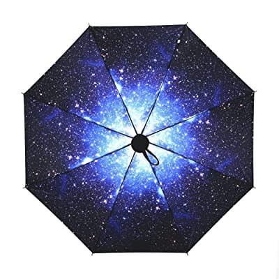 Ai-life Folding Compact Travel Umbrella, Portable Rain/Sun Windproof Anti-UV (UPF50+) All-weather Umbrella for Easy Carrying and Storage, Galaxy Star Pattern