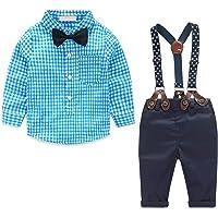 4 Piezas de Ropa para Niño Conjunto de Ropa para Bebé Camisa de Manga Larga + Pantalón + Pajarita + Tirantes Niño…