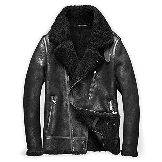 e1abd4cb9 Denny&Dora Mens Shearling Coat Mens Fur Coat Shearling Notched ...