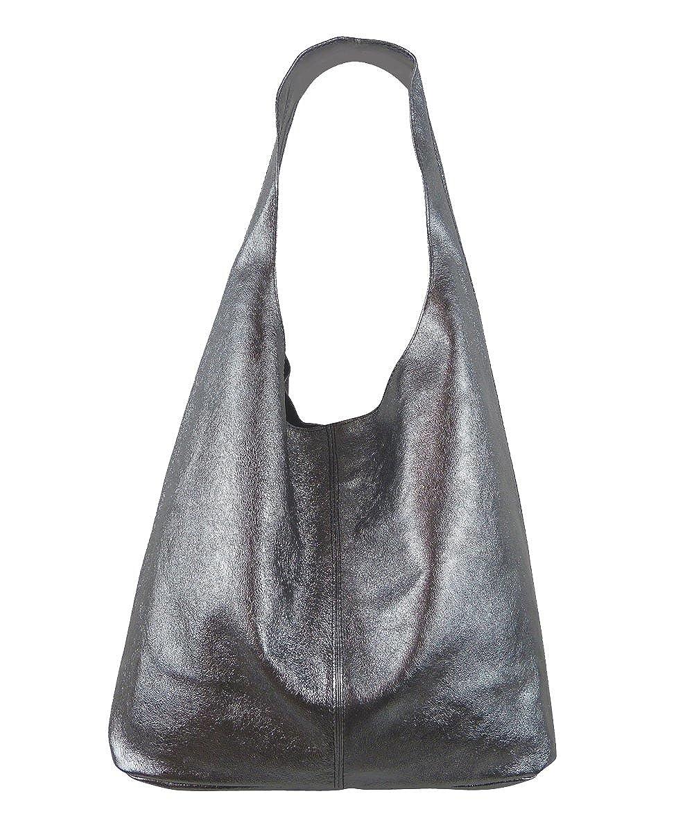 62f604563f332 Freyday Damen Ledertasche Shopper Wildleder Handtasche Schultertasche  Beuteltasche Beuteltasche Beuteltasche Metallic look B074L4WHS6  Schultertaschen ...