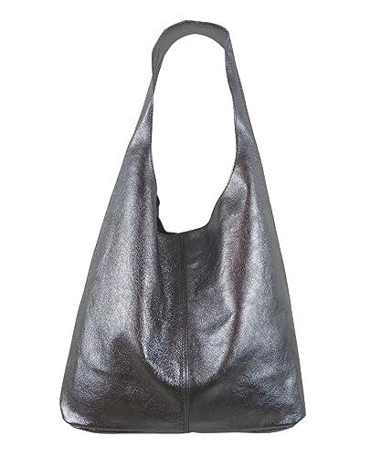 ebc5fe964ef6e8 Freyday Damen Ledertasche Shopper Wildleder Handtasche Schultertasche  Beuteltasche Metallic look (Anthrazit Metallic Reißverschluss)