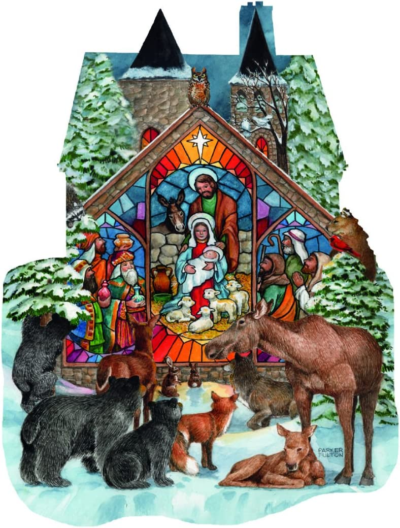 Forest Nativity - Religious Woods Shaped Puzzle - 1000 Pc Shaped Jigsaw Puzzle by SunsOut