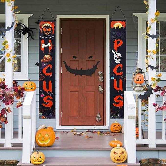 Vintoney Halloween Tur Banner Veranda Zeichen Haustur Vorhang Hangen Flagge Dekoration Couplet Fur Halloween Party Karneval Farbe2 Amazon De Garten