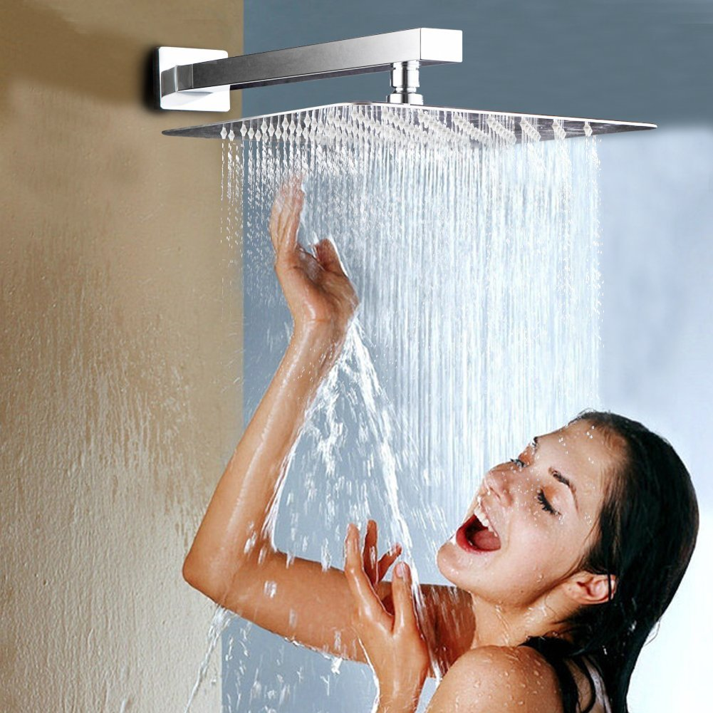 SR SUN RISE Luxury 12 Inch Large Square 304 Stainless Steel Shower Head High Pressure Rainfall Showerhead Ultra Thin Water Saving Polished Chrome