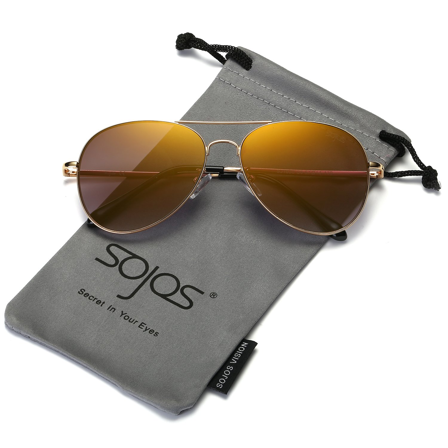 SOJOS Classic Aviator Mirrored Flat Lens Sunglasses Metal Frame with Spring Hinges SJ1030 SJ1030C1