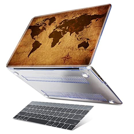 low priced 905bc dc71b Dongke Case for Latest Macbook Pro 13 (2016,2017 No Touch Bar) Retro Map of  the World Design Hard Pretective Plastic Cover Laptop Sleeve Model ...