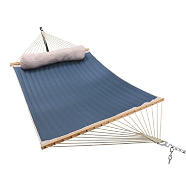 ELC 11 Feet Double Quilted Fabric Hammock with Pillow, Hammocks with Bamboo Spreader Bars and 2 Steel Chains, Perfect forOutdoor Patio Yard Hanging Hammock