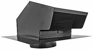Builder's Best 012633 Roof Vent Cap, Black Galvanized Metal, with 6-inch diameter collar