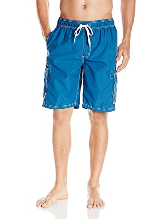 bd054e437fa4d Men's Quick Dry Short Swim Trunks Cargo Water Shorts Beach Swimsuit with Mesh  Lining (Turquoise