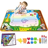 Meland Large Water Doodle Mat Aqua Doodle Mat 39.37 x 27.5 inch, with 4 Water Pens and 8 Molds and a Water Coloring Book, Kids Educational Travel Toy Gift for Boys Girls Toddlers, 7 Colors