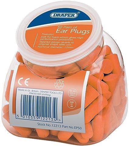 Draper 12213 - Tapones para los oídos con dispensador (50 unidades)