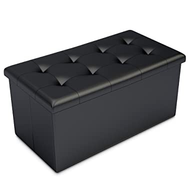 Home-Complete HC-7001 Storage Ottoman-Faux Leather Rectangular Bench with Lid-Space Saving Furniture for Blankets, Shoes, Toys and More-Organizer Trunk, Black