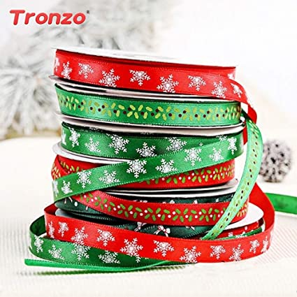 merry christmas decorations merry christmas box gift christmas ribbon 25yards christmas tree decorations for home snowflake - Christmas Ribbon Decorations