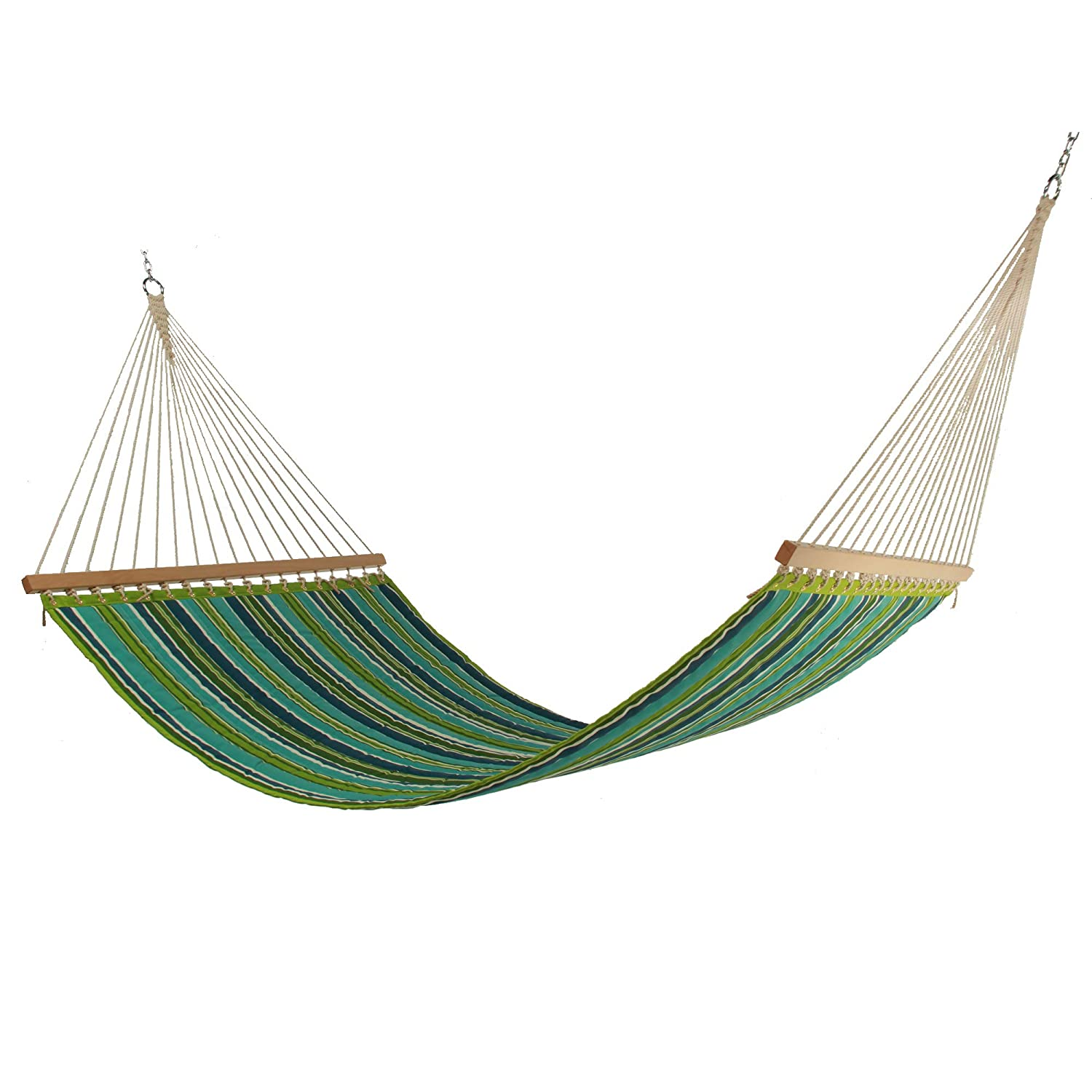 East Coast Hammocks Large Polyester Quilted Hammock – Royal Peacock Stripe