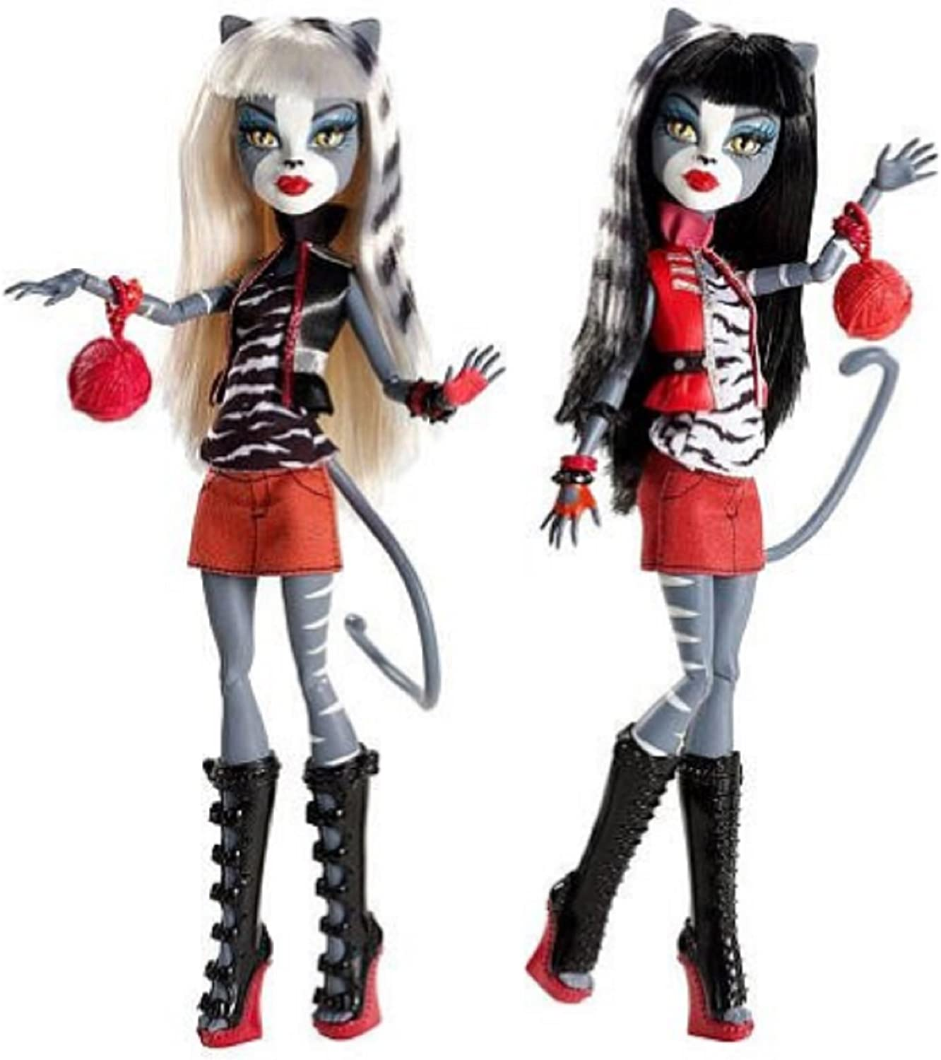 Amazon Com Monster High Werecat Twin Sisters Meowlody And Purrsephone Toys Games
