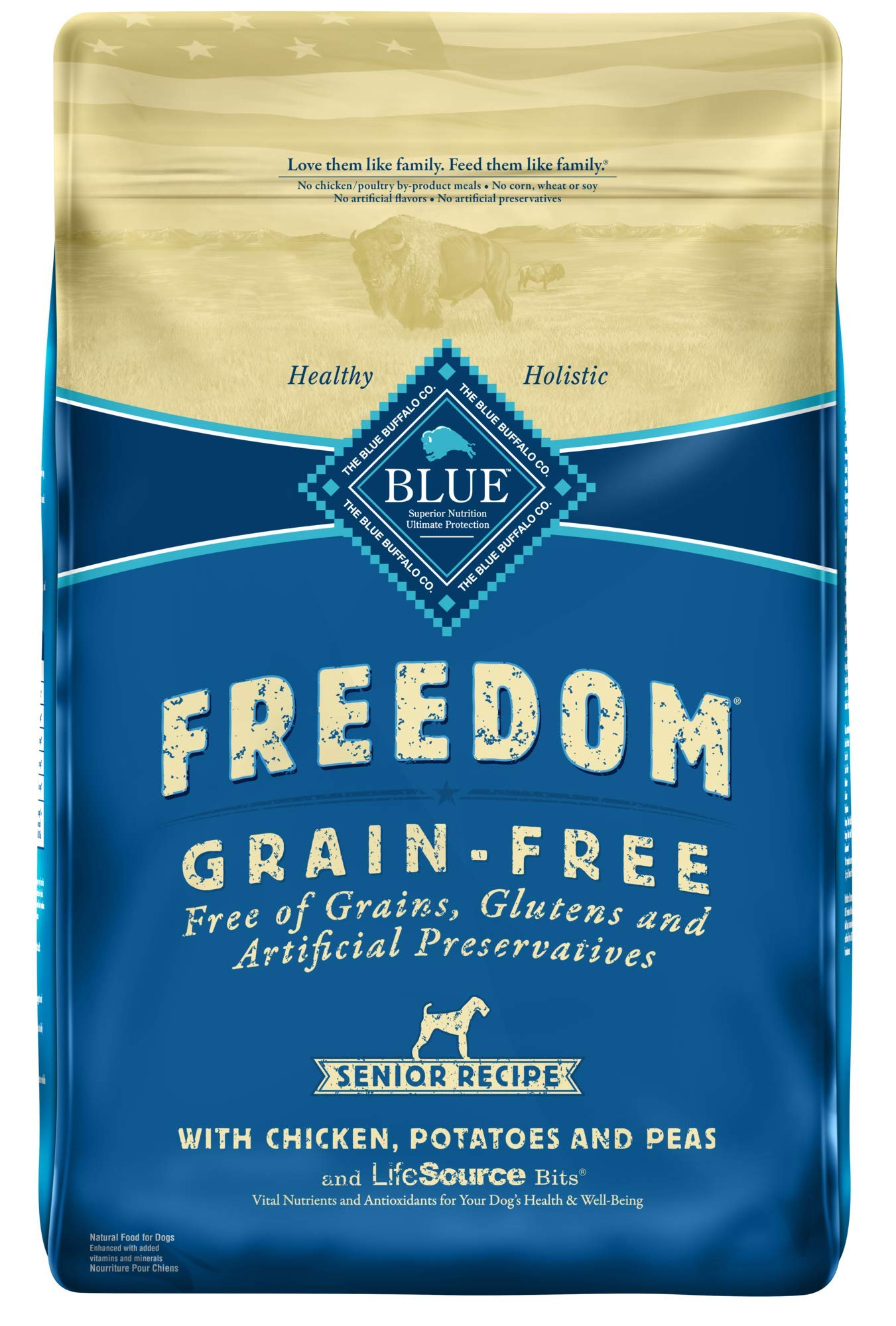 Blue Buffalo Freedom Grain Free Natural Senior Dry Dog Food, Chicken 24-lb by Blue Buffalo
