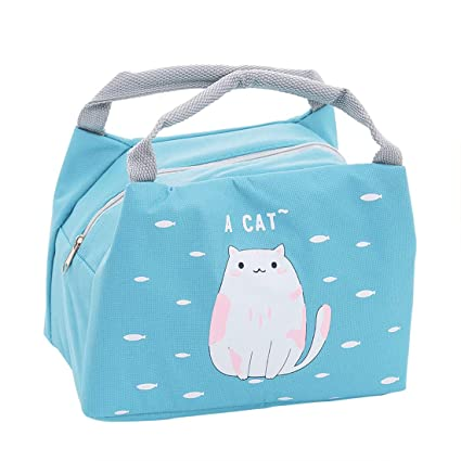 Oyachic Cute Thermal Animal Lunch Bag Insulated Tote Leakproof Zipper Bag with Foil Liner for Office, School and Picnic (cat)