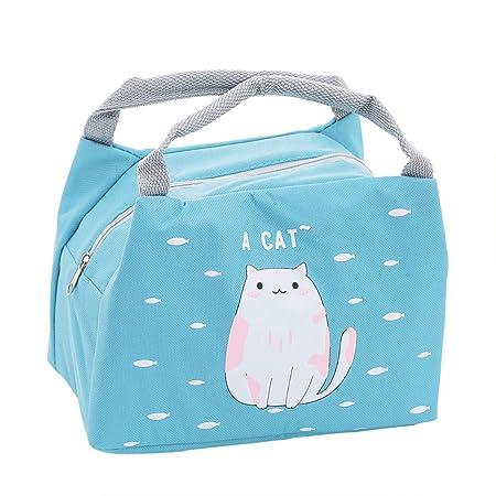 Oyachic Bolsa Termica Bolsas de Almuerzo Lunch Bag Linda Mascota Bolsas de Cremallera Bolsa de Tela Algodon Merienda Impermeable Portátil (Gato)