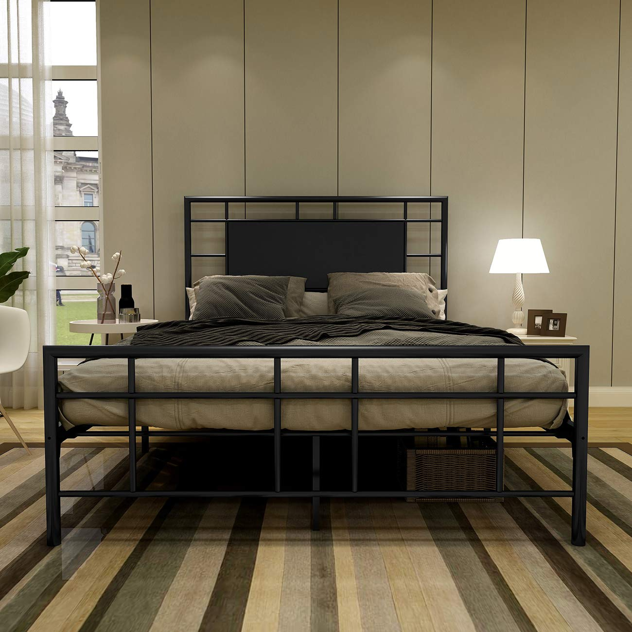 Metal Bed Frame Full with Part Faux Leather Headboard Modern Classic Premium Steel Slat No Box Spring Mattress Foundation Black by AUFANK