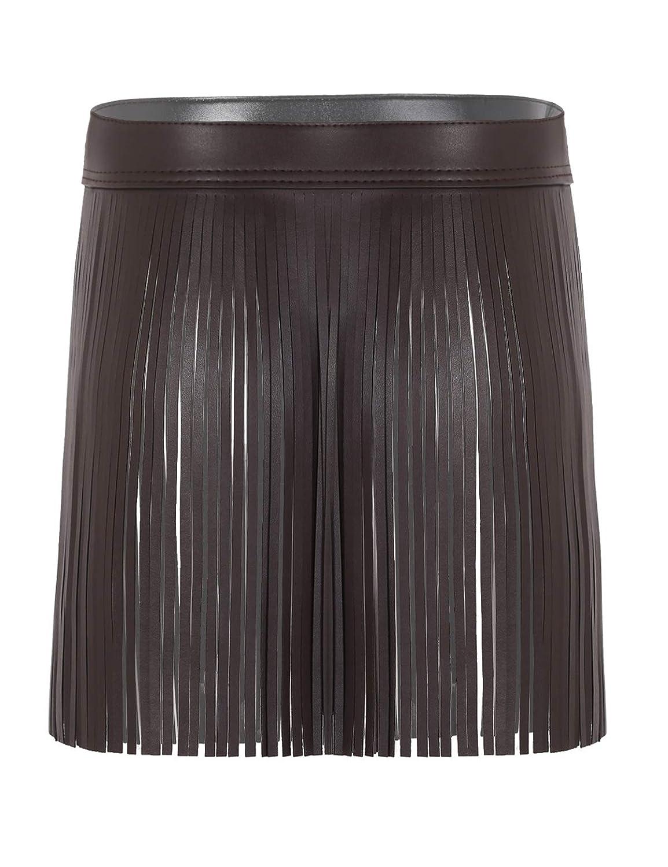 ACSUSS Women PU Leather Solid Tassel Fringe Hippie Boho High Waist Adjustable Belt Skirt