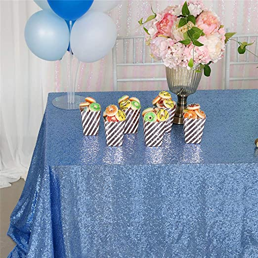 QueenDream Sequin Tablecloth Aqua Blue 50x80 inch Sparkly Tablecloth for Wedding Party Birthday Christmas Decor Sequin Fabric