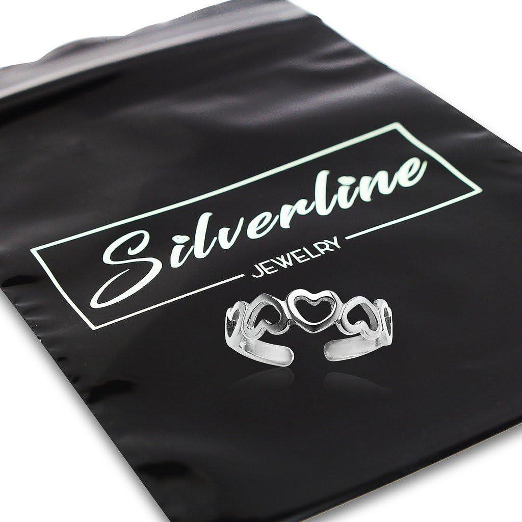 Multi Open Heart Adjustable Open Toe Band Ring Silverline Jewelry 925 Sterling Silver Toe Ring