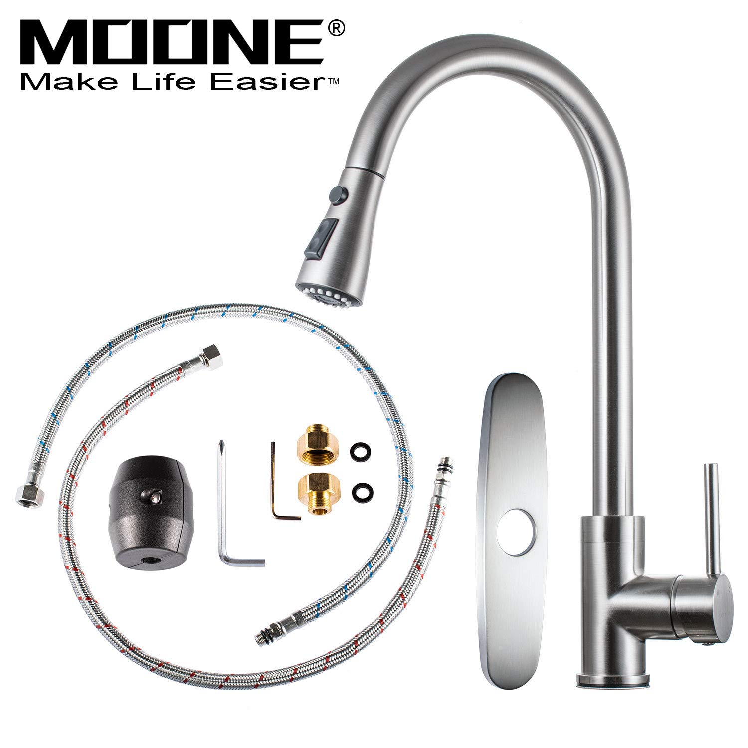 Moone Commercial Single Handle Kitchen Faucet Pull Down Sprayer Brass Body Pull Out Spray Kitchen Sink Faucets Stainless Steel Brushed Nickel by Moone (Image #2)