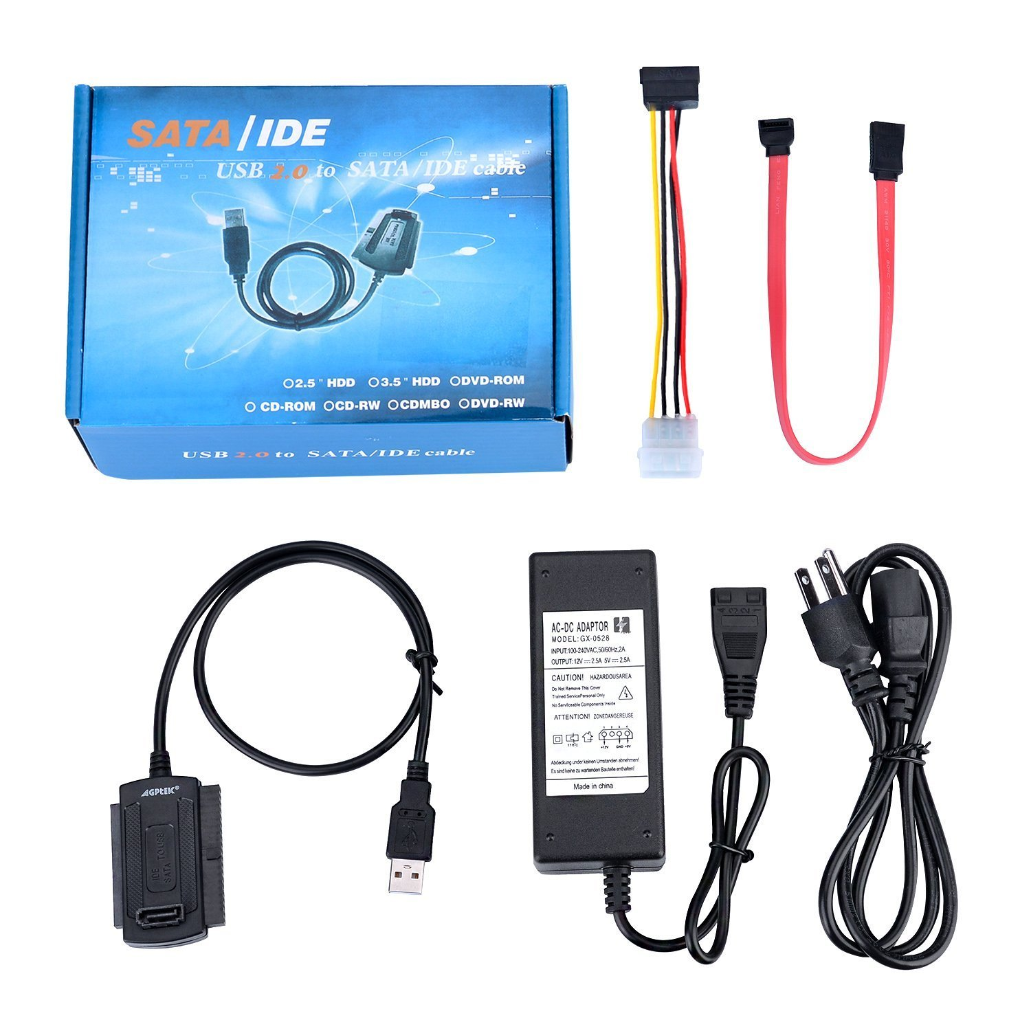 SATA/PATA/IDE Drive to USB 2.0 Adapter Converter Cable for 2.5 / 3.5 / 5.25 Inch Hard Drive / Optical Drive with External AC Power Adapter