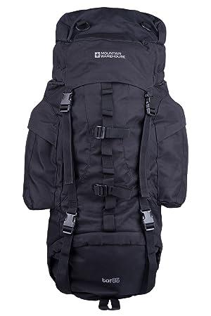 c18d710fd1bf Mountain Warehouse Tor 65L Spacious Rucksack - Ladderlock Back Travel  Backpack, Padded Air Mesh Bag