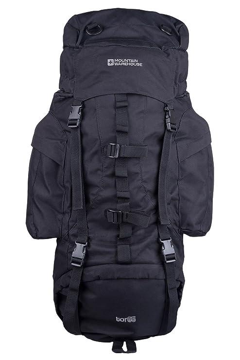 Mountain Warehouse Tor 65L Spacious Rucksack - Ladderlock Back Travel  Backpack 32d0550229375