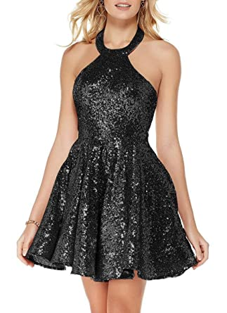 TTdamai Homecoming Dresses for Juniors Halter Rose Gold Sequins Backless Short Prom Dresses 2018 US2 Size