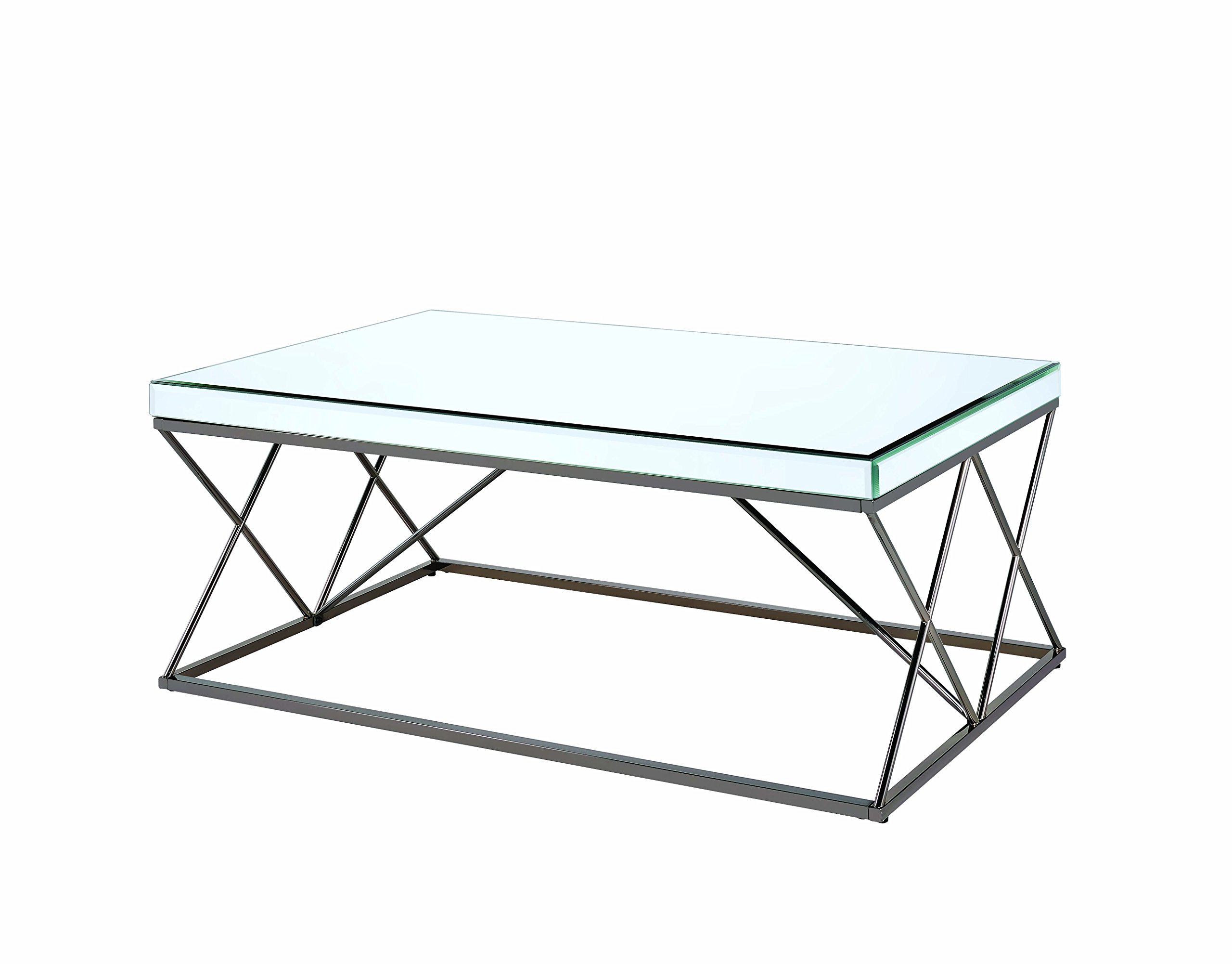 Coaster -CO Furniture Piece - Set includes: One (1) coffee table Materials: Metal, hollow board and mirror Finish Color: Black nickel and mirror - living-room-furniture, living-room, coffee-tables - 71ZHW13eHVL -