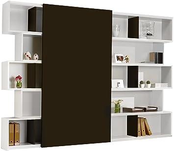 Bibliothèque design laque blanc brillant porte coulissante: Amazon ...