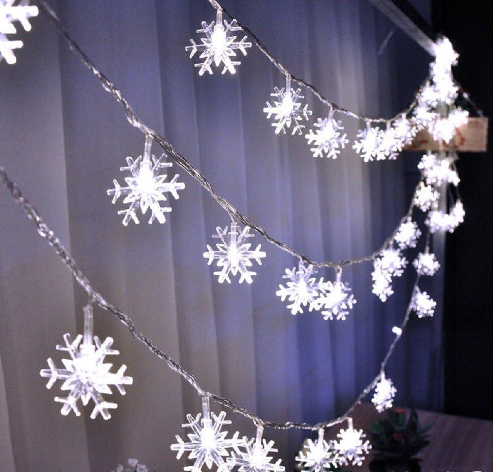 ILOVEDIY 2M 20LED Flocon de Neige Guirlandes Lumineuses Chambre Enfant /à Piles Noel Decoration Blanc Chaud